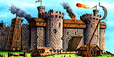 A Medieval Castles Defences are being tested in an attack