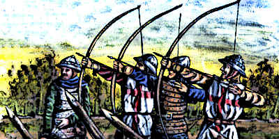 English Longbowmen fire on French enemy